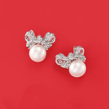 Cultured Pearl and .10 ct. t.w. Diamond Bow Earrings in Sterling Silver