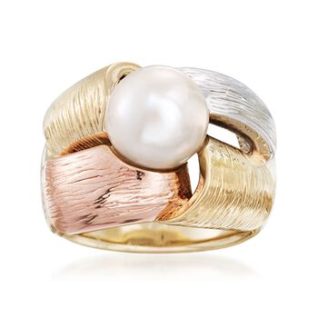 10-10.5mm Cultured Pearl Ring in 14kt Gold. Size 9, , default