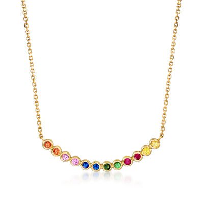 .40 ct. t.w. Multicolored Sapphire, .10 ct. t.w. Ruby and .10 ct. t.w. Tsavorite Curved Necklace in 14kt Yellow Gold