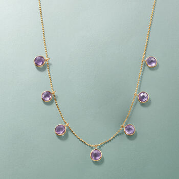 5.75 ct. t.w. Amethyst Station Necklace in 14kt Yellow Gold, , default