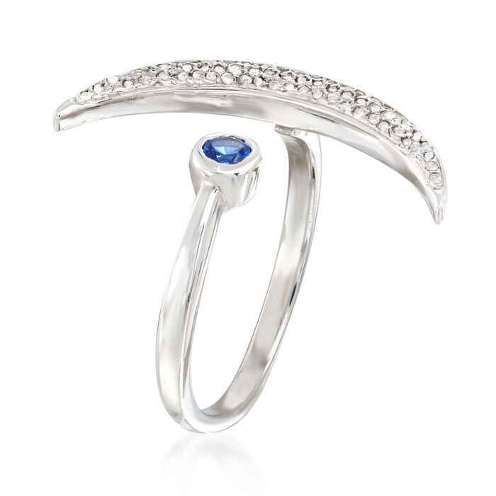 .18 ct. t.w. Diamond and .10 Carat Sapphire Crescent Moon Bypass Ring in Sterling Silver