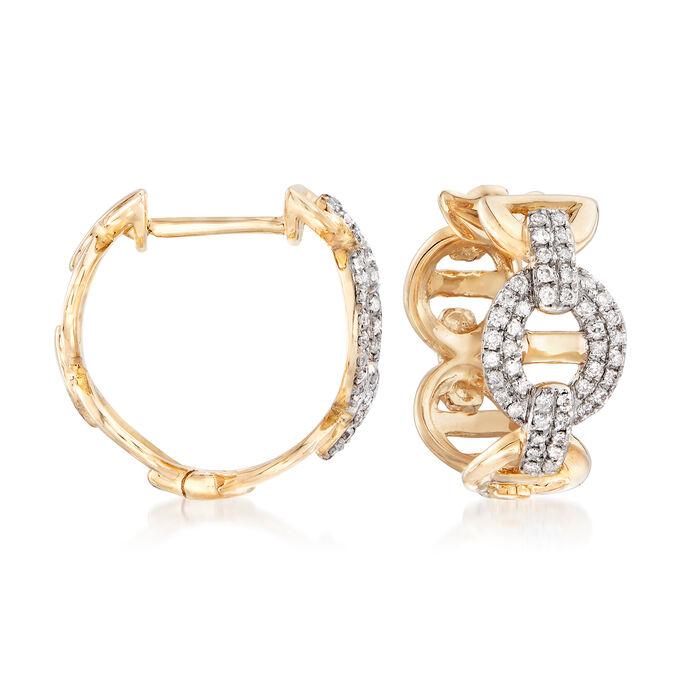 """.26 ct. t.w. Diamond Link Hoop Earrings in 14kt Yellow Gold. 1/2"""", , default"""