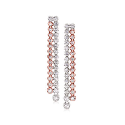 C. 1990 Vintage 1.20 ct. t.w. Diamond Double-Row Earrings in 18kt Two-Tone Gold, , default