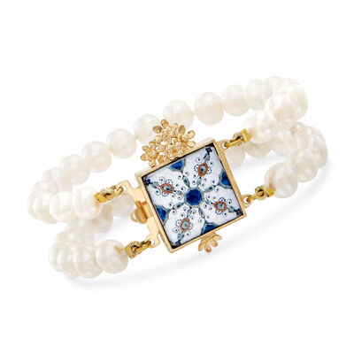 Italian 8mm Cultured Pearl Majolica Tile Bracelet in 18kt Gold Over Sterling, , default