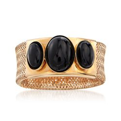 Italian Black Onyx Three-Stone Mesh Ring in 14kt Gold, , default