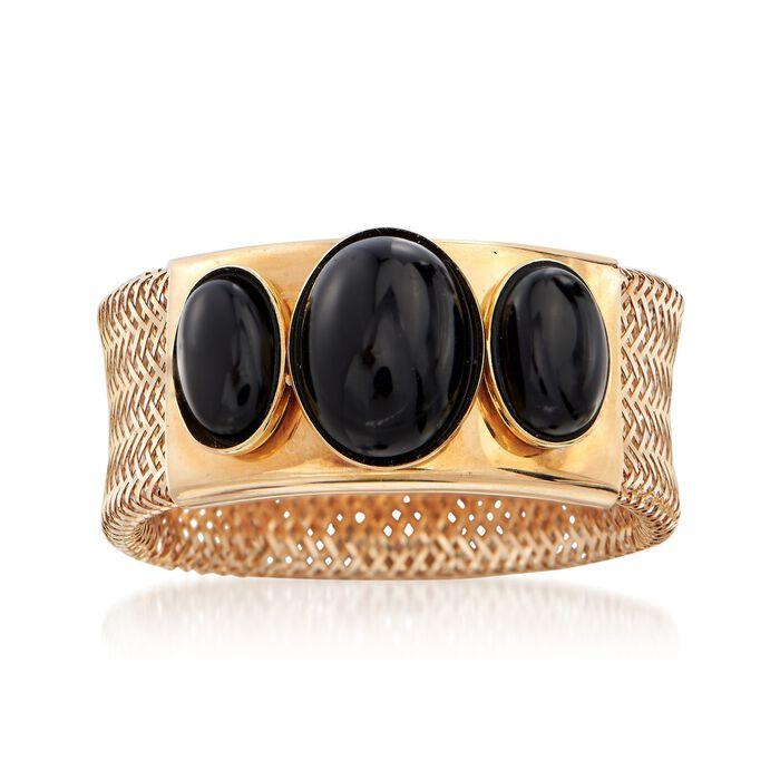 Italian Black Onyx Three-Stone Mesh Ring in 14kt Gold, , default