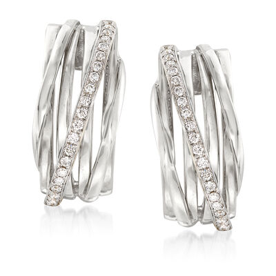 .42 ct. t.w. Diamond Crisscross Drop Earrings in 14kt White Gold