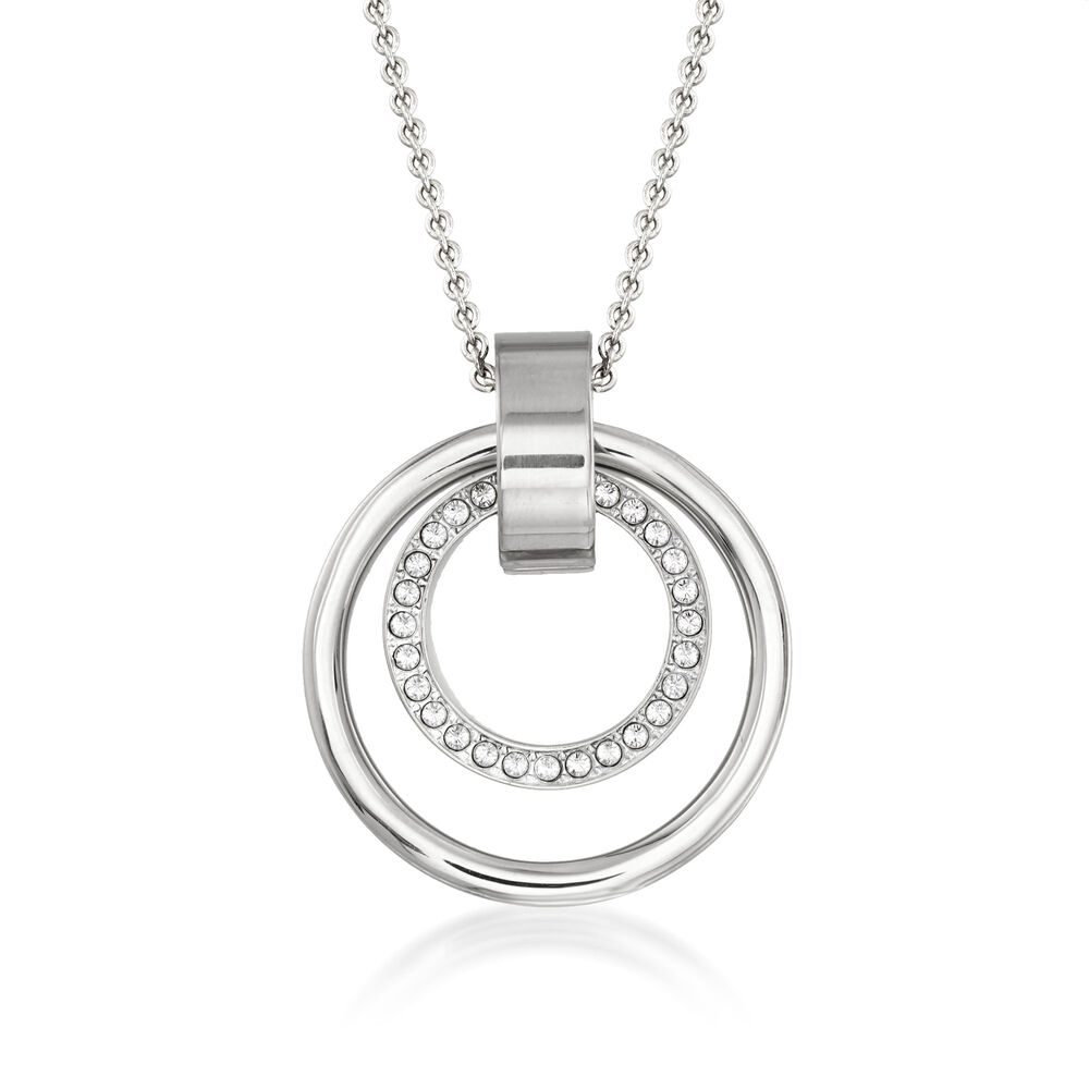 Swarovski Crystal  quot Hollow quot  Pave Crystal Medium Double Circle  Pendant Necklace in Silvertone. c4215ee7b8
