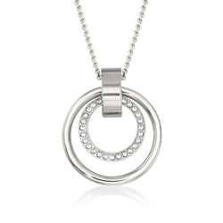 "Swarovski Crystal ""Hollow"" Pave Crystal Medium Double Circle Pendant Necklace in Silvertone, , default"