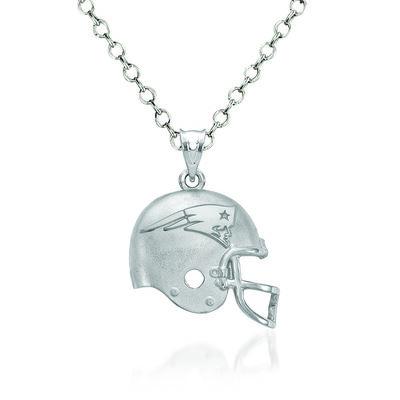 "Sterling Silver New England Patriots Football Helmet Logo Pendant Necklace. 18"", , default"