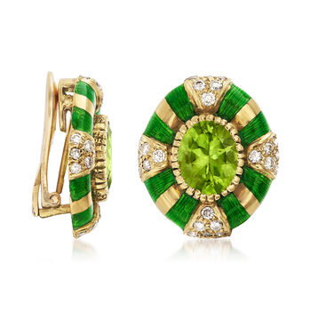 C. 1980 Vintage 5.00 ct. t.w. Peridot and 1.00 ct. t.w. Diamond Earrings in 14kt Yellow Gold