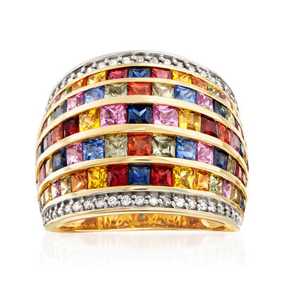 5.10 ct. t.w. Multicolored Sapphire, .70 ct. t.w. Ruby and .33 ct. t.w. Diamond Ring in 14kt Yellow Gold, , default