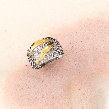 Sterling Silver and 14kt Yellow Gold Dolphin Ring