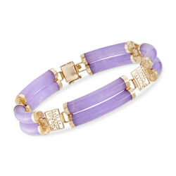Lavender Jade Bracelet With Chinese Symbols in 14kt Yellow Gold, , default