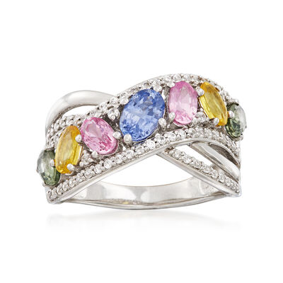 2.40 ct. t.w. Multicolored Sapphire and 2.00 ct. t.w. White Zircon Sash Ring in Sterling Silver, , default
