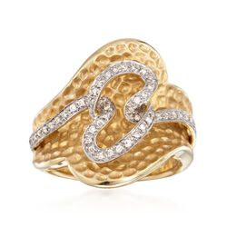 C. 1990 Vintage .25 ct. t.w. Diamond Twisted Ring in 14kt Yellow Gold. Size 7, , default