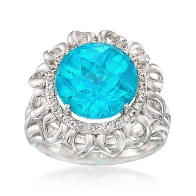 Teal Triplet and .20 ct. t.w. White Zircon Ring in Sterling Silver, , default