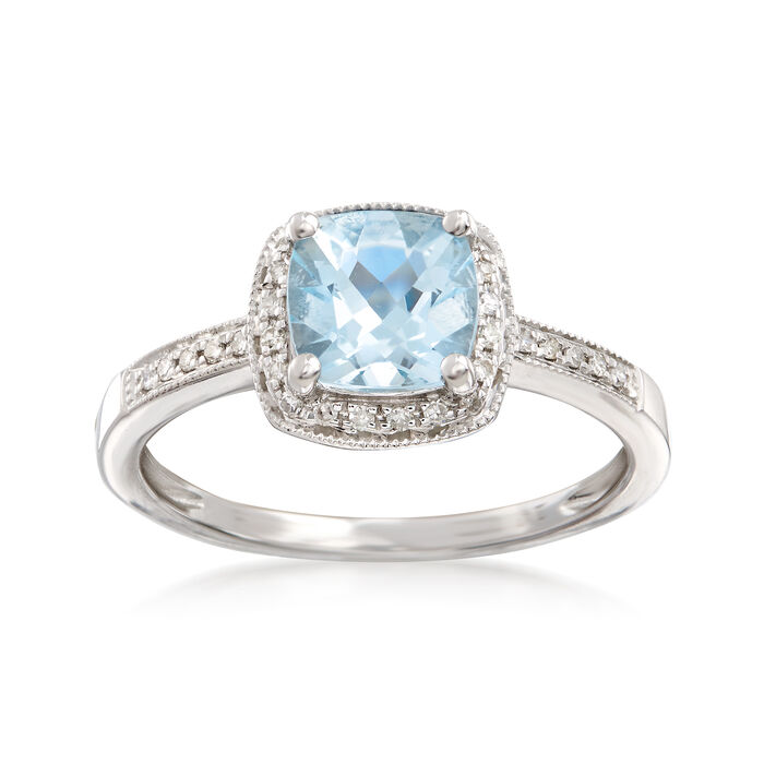 1.20 Carat Aquamarine and .15 ct. t.w. Diamond Ring in 14kt White Gold