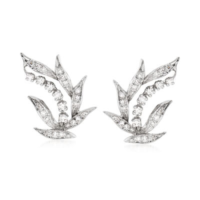 C. 1950 Vintage .70 ct. t.w. Diamond Leaf Earrings in 14kt White Gold