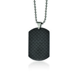Men's Black Stainless Steel and Carbon Fiber Dog Tag Pendant Necklace, , default