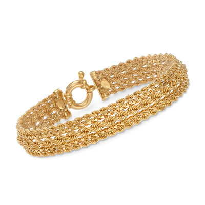 Italian 14kt Yellow Gold Popcorn and Rope Link Bracelet, , default