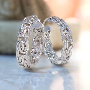 "Sterling Silver Small Byzantine Hoop Earrings. 1"", , default"