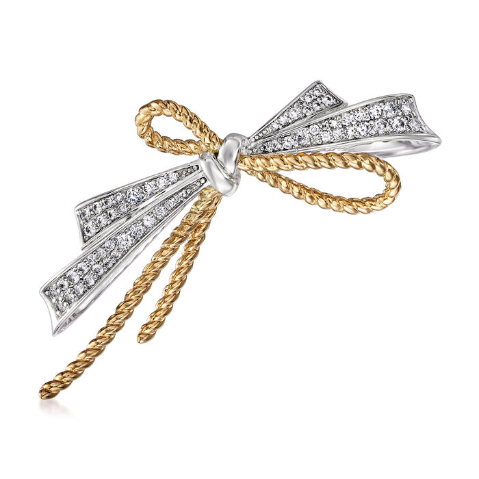 .75 ct. t.w. CZ Ribbon Bow Pin in Sterling Silver and 18kt Gold Over Sterling