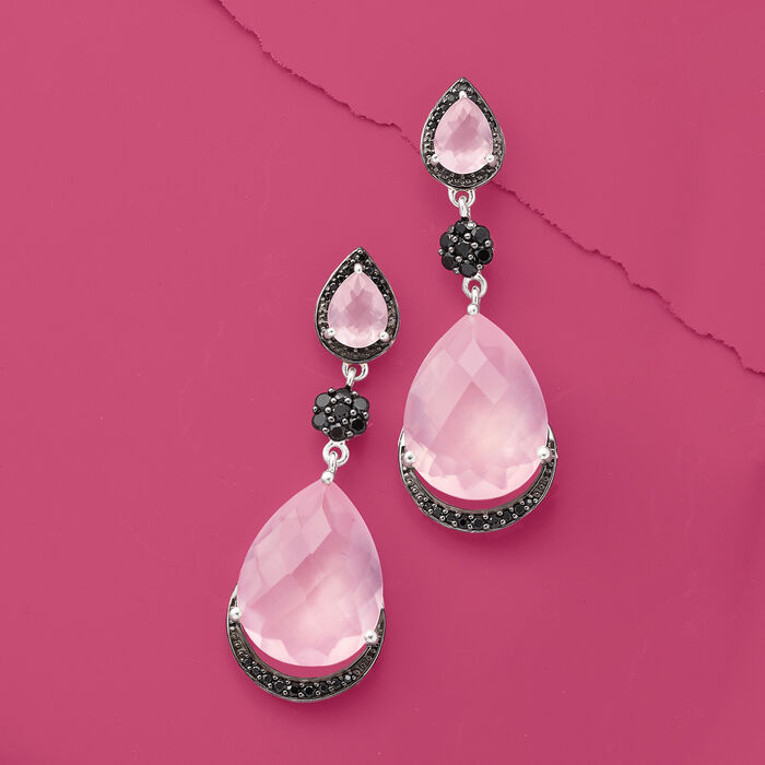 Rose Quartz and 1.00 ct. t.w. Black Spinel Drop Earrings in Sterling Silver