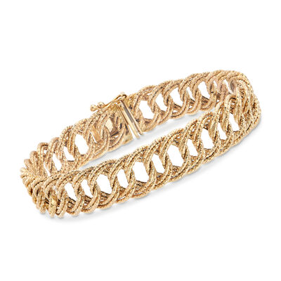14kt Yellow Gold Textured Curb-Link Bracelet , , default