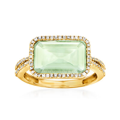 3.10 Carat Prasiolite and .20 ct. t.w. Diamonds in 14kt Yellow Gold