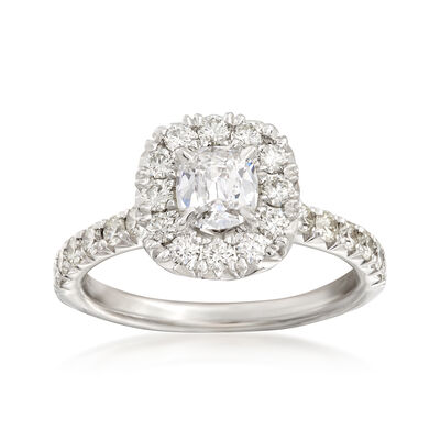 Henri Daussi 1.21 ct. t.w. Diamond Halo Engagement Ring in 18kt White Gold, , default