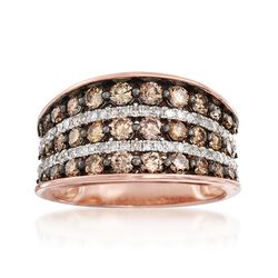 1.71 ct. t.w. Brown and White Diamond Multi-Row Ring in 14kt Rose Gold, , default