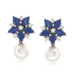 7-7.5mm Cultured Pearl and 4.80 ct. t.w. Multicolored Sapphire Floral Drop Earrings in 14kt White Gold, , default