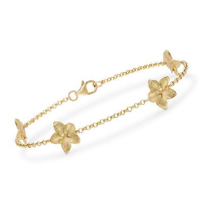 Floral Rolo Bracelet in 14kt Yellow Gold, , default