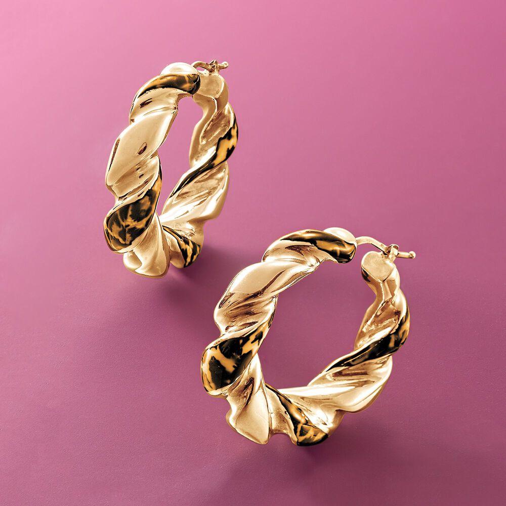 Italian Leopard-Print Enamel Hoop Earrings in 18kt Gold Over ...