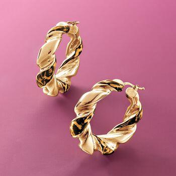 """Italian Leopard-Print Enamel Hoop Earrings in 18kt Gold Over Sterling. 1 5/8"""", , default"""