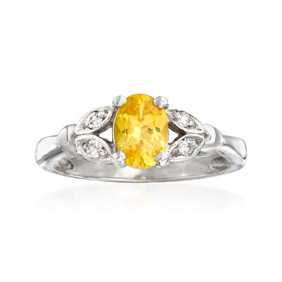 C. 1990 Vintage 1.00 Carat Yellow Sapphire and .10 ct. t.w. Diamond Leaf Ring in 14kt White Gold, , default