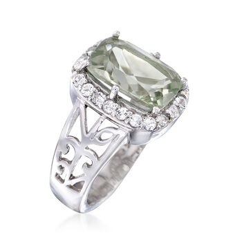 3.00 Carat Green Prasiolite and .60 ct. t.w. White Topaz Floral Ring in Sterling Silver