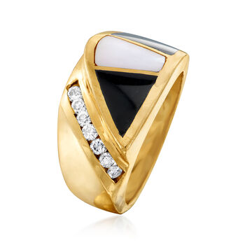 C. 1980 Vintage Black Onyx, Mother-Of-Pearl and .25 ct. t.w. Diamond Section Ring in 14kt Yellow Gold. Size 8, , default