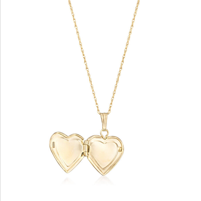 Child's 14kt Yellow Gold Single Initial Heart Locket Necklace
