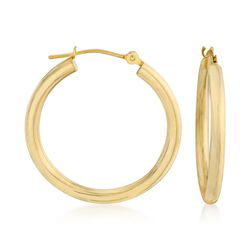"2.5mm 14kt Yellow Gold Hoop Earrings. 1"", , default"