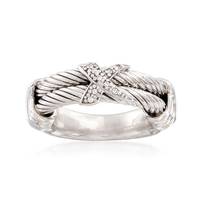"Phillip Gavriel ""Italian Cable"" Sterling Silver Ring with Diamond Accents"