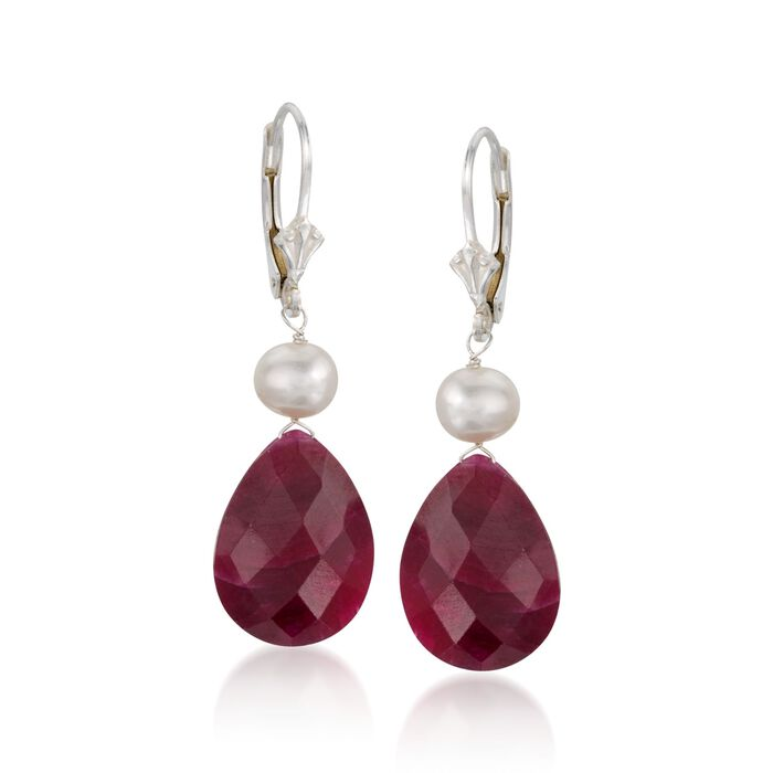 20.00 ct. t.w. Ruby and Cultured Pearl Drop Earrings in Sterling Silver