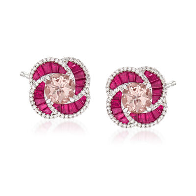 2.40 ct. t.w. Morganite and 1.90 ct. t.w. Ruby and .45 ct. t.w. Diamond Earrings in 14kt White Gold, , default