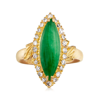 C. 1970 Vintage Jade and .30 ct. t.w. Diamond Ring in 22kt Yellow Gold, , default