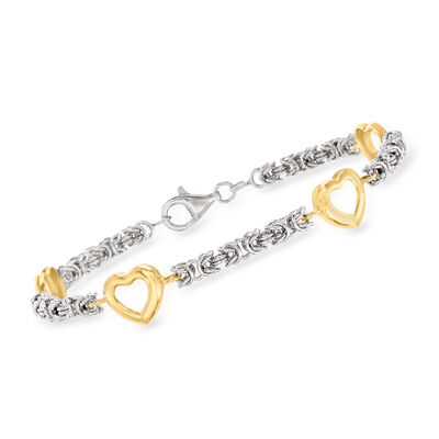 Two-Tone Sterling Silver Byzantine Bracelet with Open-Space Heart Stations