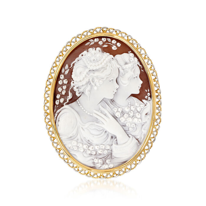 C. 1970 Vintage Pink Shell Cameo Pin/Pendant in Platinum and 18kt Yellow Gold