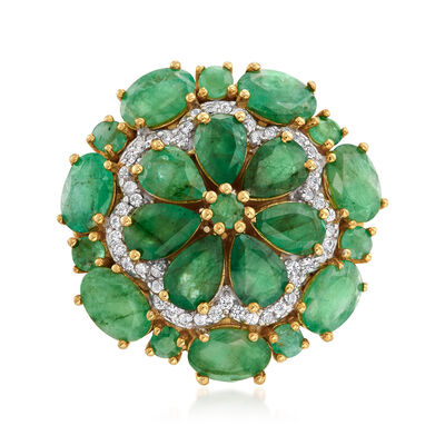 6.10 ct. t.w. Emerald and .20 ct. t.w. White Zircon Floral Ring in 18kt Gold Over Sterling, , default