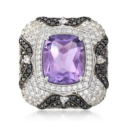 4.90 Carat Amethyst and 2.00 ct. t.w. White Zircon Ring With .40 ct. t.w. Black Spinel in Sterling Silver, , default