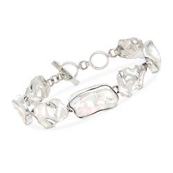 23-25x12-13mm Cultured Baroque Pearl and Sterling Silver Ripple Oval Bracelet, , default